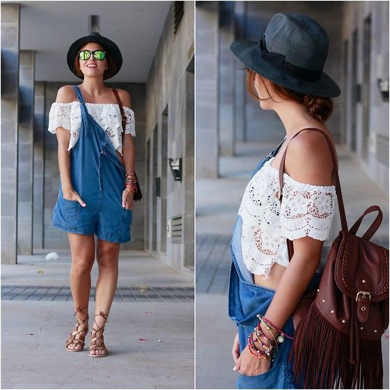 Get this look: http://lb.nu/look/7719230  More looks by Carolina González Toledo: http://lb.nu/carolinatoledo  Items in this look:  Oysho Hat, Lefties Backpack, Newdress Crop Top, Mango Outlet Jumpsuit, Primark Sandals   #casual #sporty #summer #ootd #outfit #hat #jumpsuit #fringes #backpack