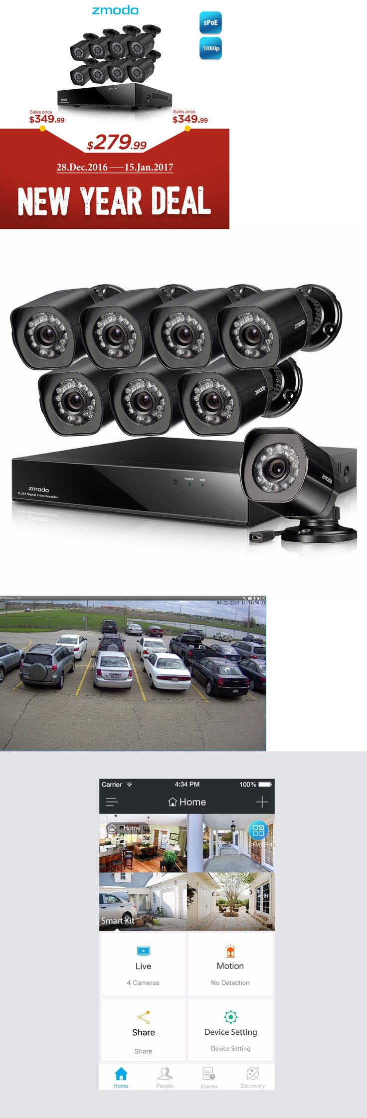 Surveillance Security Systems: Zmodo 8Ch Nvr 8 1080P Hd Poe Ip Network Outdoor Ir Home Security Camera System BUY IT NOW ONLY: $279.99