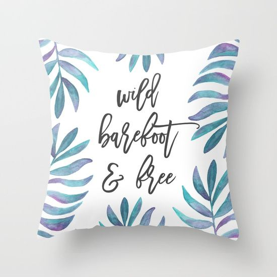 Wild Barefoot & Free Watercolor Palm Leaf Throw Pillow   Summer Throw Pillow   Beach Throw Pillow   Tropical Throw Pillow   Quote Pillow   Dorm Room   Beach Bedroom   Girls Bedroom   Yoga Girl   Beach Girl   Surf Girl   Surfer   Yogi   Summer Vibes   Beac