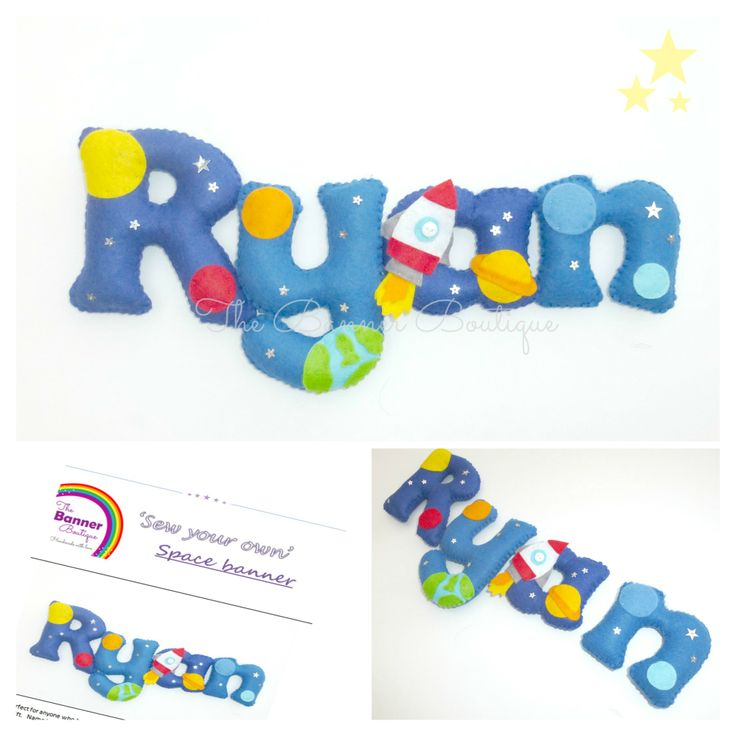 Sew your own felt name banner kit in a space theme.  By The Banner Boutique.