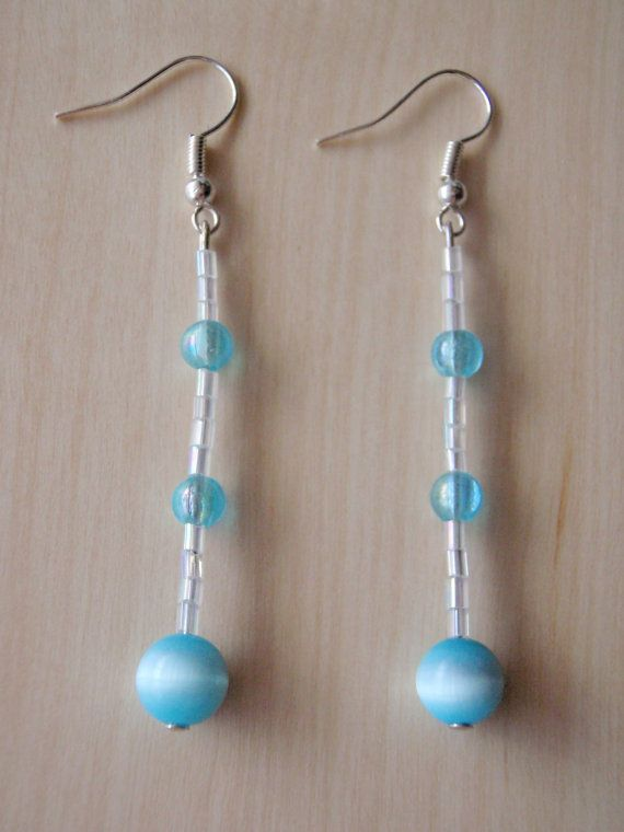 Blue cat-eye earrings round by RosemarysJewellery on Etsy