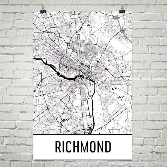 Richmond Map Art Print, Richmond VA Art Poster, Richmond Wall Art, Map of Richmond, Richmond Print, Gift, Birthday, Decor, Modern, Art