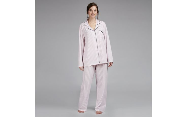 Notch Collar Stripe Pyjama Set