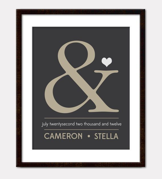 "Custom ampersand wedding print (to go on my MR  MRS wedding photo wall since I couldn't find a wooden """")"