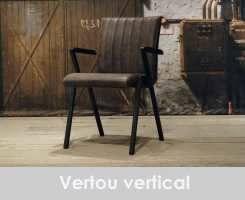 leren eetkamerstoel vertou met arm vertical - leer brown