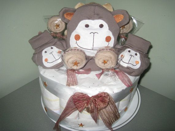 Monkey diaper cake gifts unique by Marie par DiapergiftsbyMarie