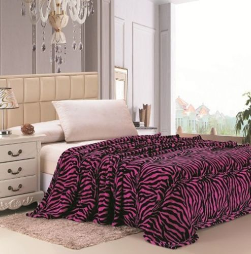 Zebra Print Microfiber Blanket - Black and White, Brown, Pink, Purple Colors