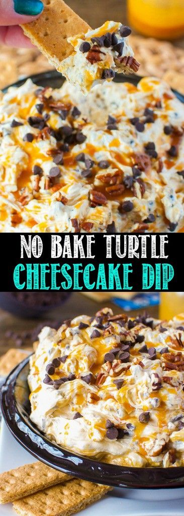 No Bake Turtle Cheesecake Dip is cool, creamy, and completely decadent! The cheesecake base is swirled with caramel and loaded with chocolate and pecans!