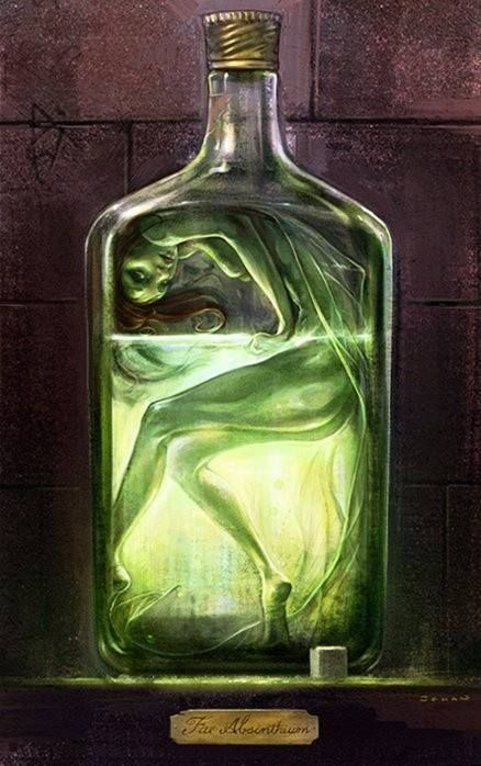 Absinthe Fairy- I love how the artist has created such an interesting piece dedicated to the absinthe fairy. Having tried the stuff in new orleans it adds an interesting view to looking at this art work. The ethereal quality of the fairy even adding the sugar cube at the bottom which you must pour the liquid over.