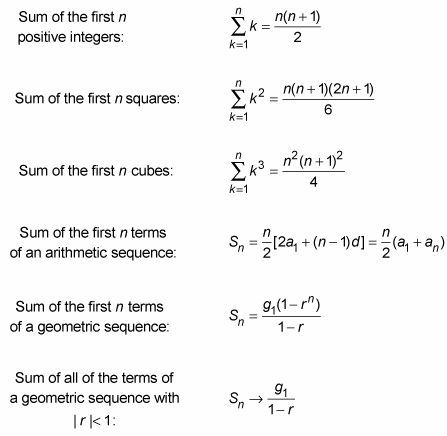 Using Algebra to Find the Sums of Sequences    Algebra can help you add a series of numbers (the sum of sequences) more quickly than you would be able to with straight addition. Adding integers, squares, cubes, and terms in an arithmetic or geometric sequence is simple with these algebraic formulas:
