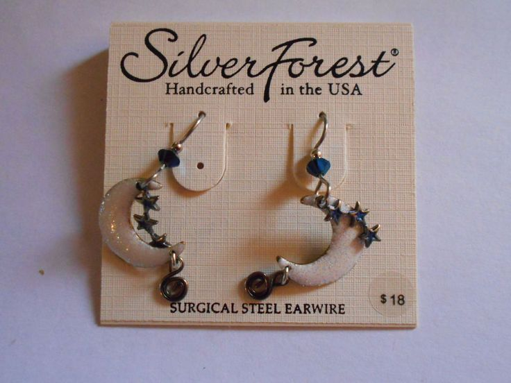 Silver Forest Moon and Stars Dangle Earrings  #SilverForest #DropDangle