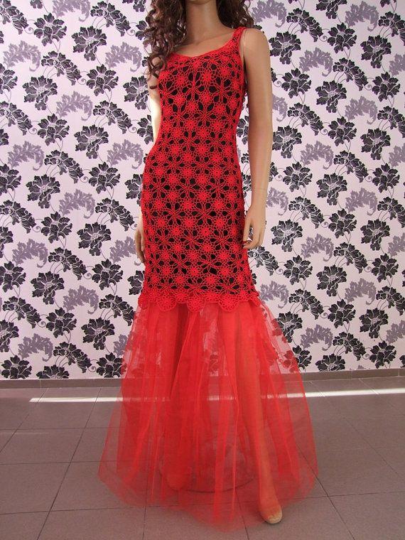 SALE Crochet prom/evening dress Sharon by LaimInga on Etsy