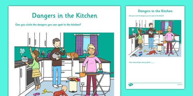 Dangers in the Kitchen Activity Sheet - CfE, Early Level, SHANARRI, safety, health and wellbeing, safety in the home, kitchen