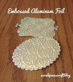 I used Reynolds Heavy Duty Aluminum Foil, but it works best when folded into several layers. I was using one of the wide rolls of foil and I ripped a section off the roll that was about 16 inches wide. Then I folded it in half. Don't worry too much about the wrinkles. The busier your embossing pattern, the less you'll notice wrinkles. I folded it in half again. And then one more time to get it about the side of the embossing folder. At this point it was 8 layers thick. You might be able to…