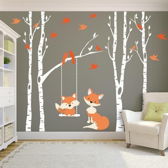 Woodland Kinderzimmer FOX & Bäume Wall Decal 4 Birken Kinderzimmer Dekor Baby FOX Decal Schaukeln von Zweig Wall Decal Wald Baby Schlafzimmer