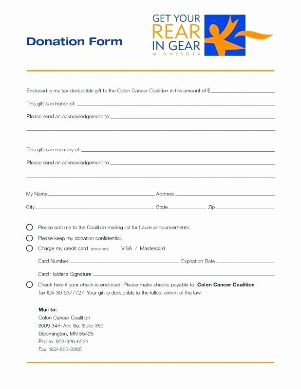 Printable Donation Form Template Beautiful Printable Donation Form