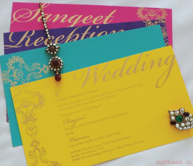 Love the bright color scheme! New & Innovative Trends in Indian Wedding Cards