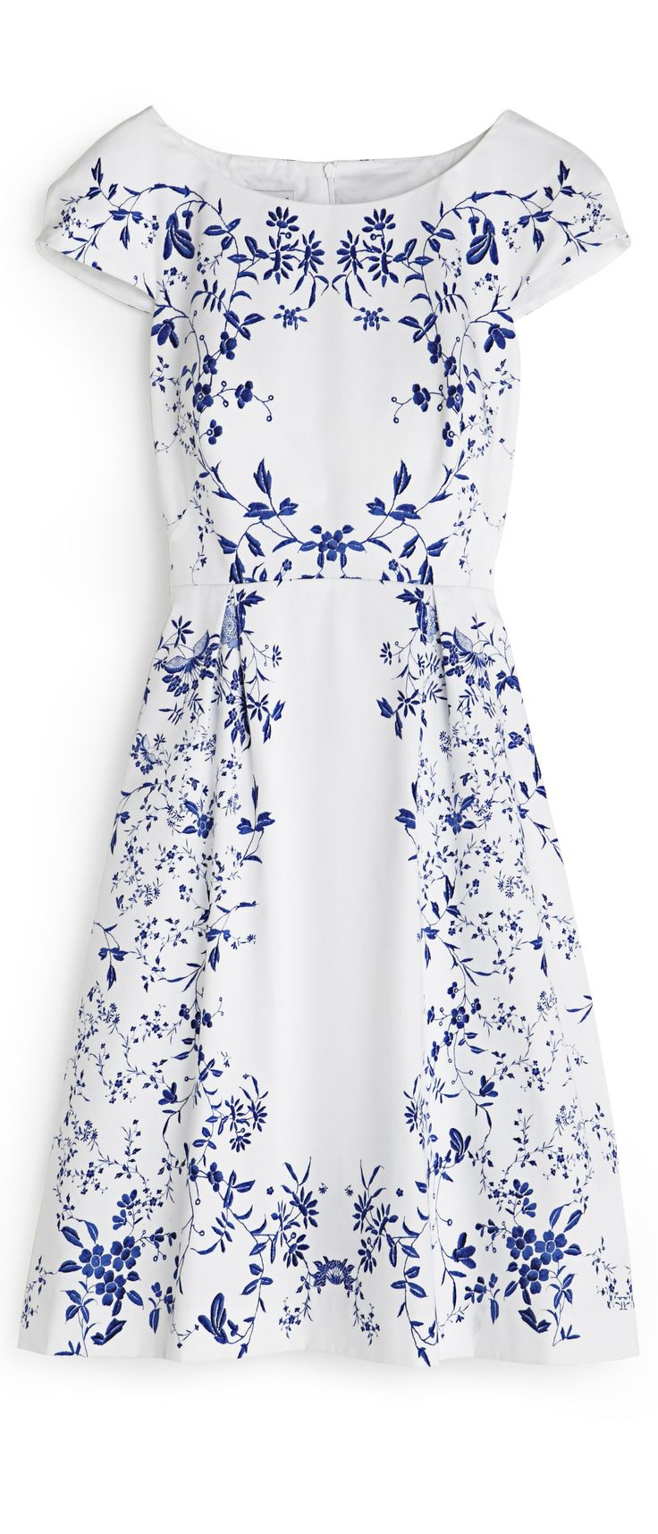 Delicate summer dress -- white with dark blue pattern