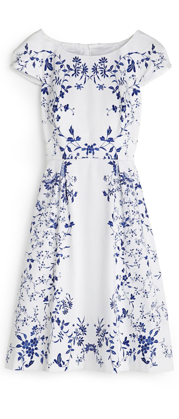 Delicate summer dress -- white with dark blue pattern