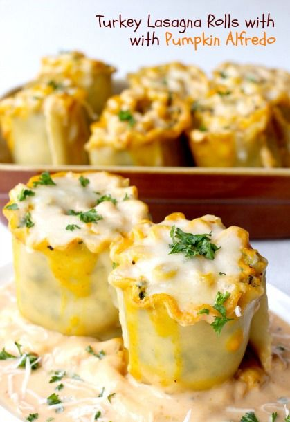 Turkey Lasagna Rolls with Pumpkin Alfredo - FoodBlogs.com