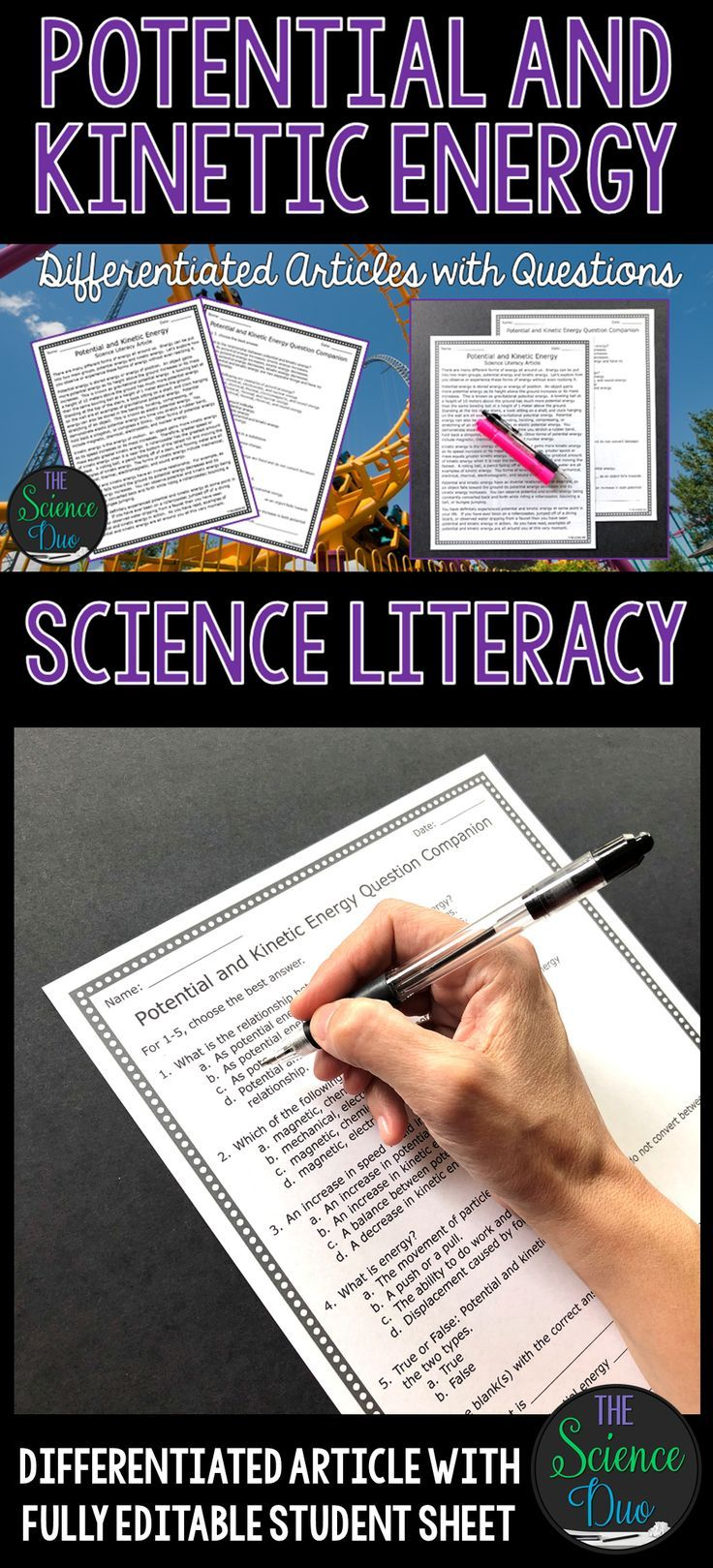 Potential And Kinetic Energy Science Literacy Article Science Literacy Heat Transfer Science Middle School Science Teacher