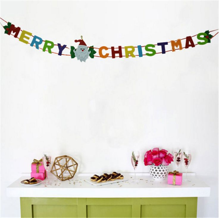 1X Merry Christmas Pull Banner Cartoon Letters Christmas Tree Party Decoration J