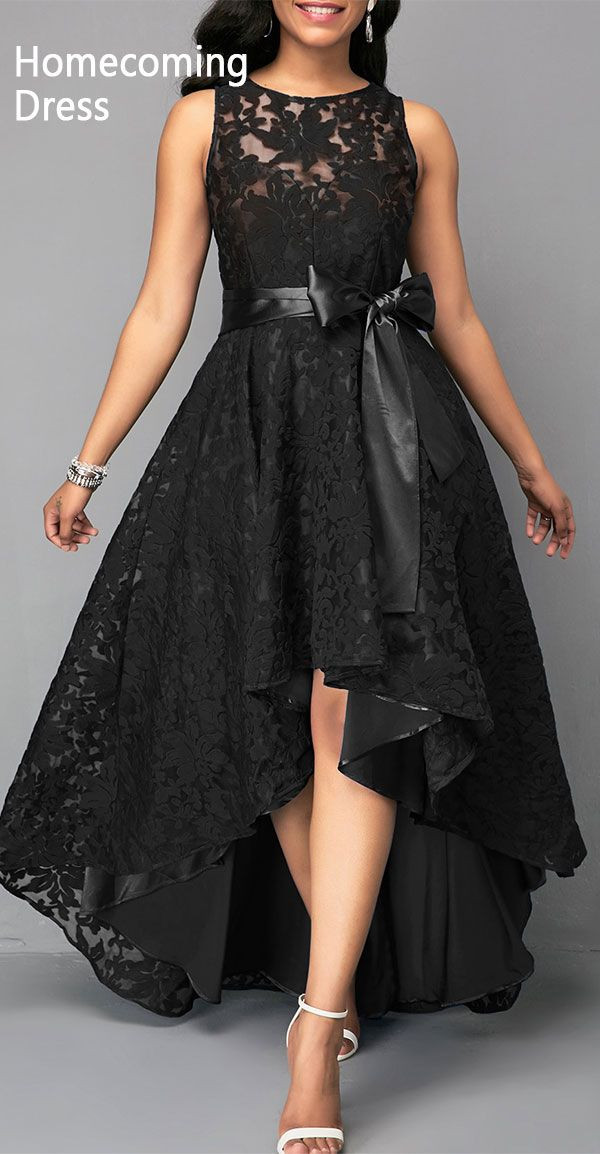 d5558c5fc426 $45.45, free shipping worldwide, High Low Black Sleeveless Belted Lace Dress.  #Rosewe#homecoming#backtoschool. black dress, lace panel dress, ...