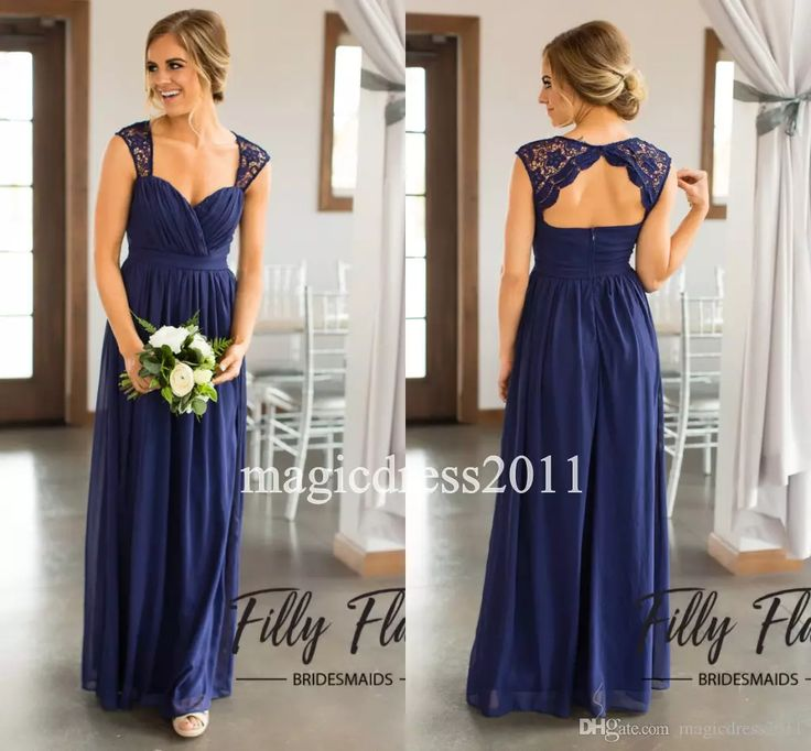 Simple Navy Blue Country Bridesmaid Dresses 2017 A-Line Sweetheart Long Chiffon Formal Party Gowns Beach Wedding Guest Maid of Honor Wear New Bridesmaid Dresses Cheap Bridesmaid Dresses Long Maid of Honor Dress Online with $92.0/Piece on Magicdress2011's Store | DHgate.com