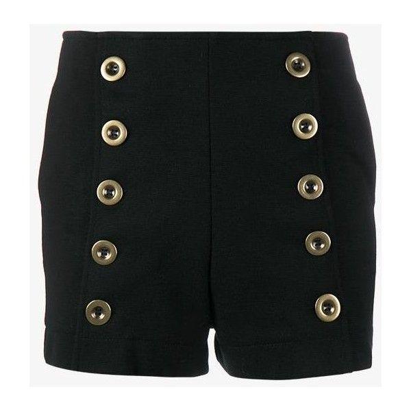 Chloé military shorts ($270) ❤ liked on Polyvore featuring shorts, black, mid rise shorts, chloe shorts, military style shorts and military shorts