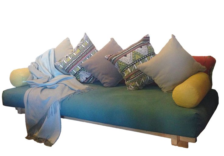 Love this! It includes 3 of the large back cushions, two roll cushions, timber base, and cotton/coir king single mattress (probably go for latex as it doesn't compress from sitting).....versatile spare bed for guests disguised as a stylish day bed. Available in single or king single with lots of fabriccolours to personalise for your space.  Single orKing Single Basic 1 (bed frame) Frame Raw + Cotton & Coir Mattress with a Warwick Fabric Cover + 3 Backing Cushions with Warwick Fabric Covers…