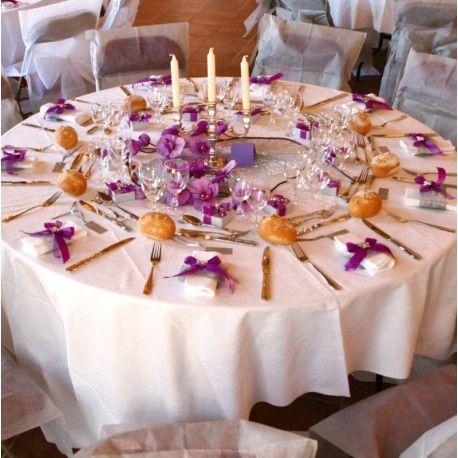 Nappe ronde intissé opaque 240 cm : Décoration de table mariage fête