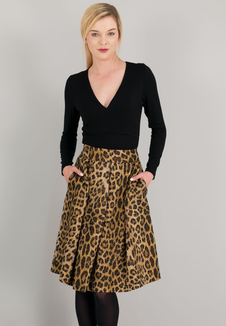 Animal print φούστα σε γραμμή Α με πιέτες.