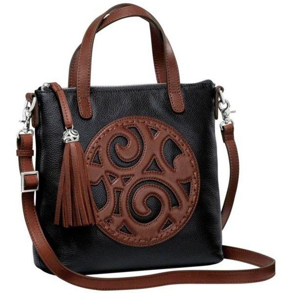 Brighton Black-Chocolate Kensington Tote ($320) ❤ liked on Polyvore featuring bags, handbags, tote bags, leather purses, leather tote purse, brighton purses, genuine leather tote and leather tote bags
