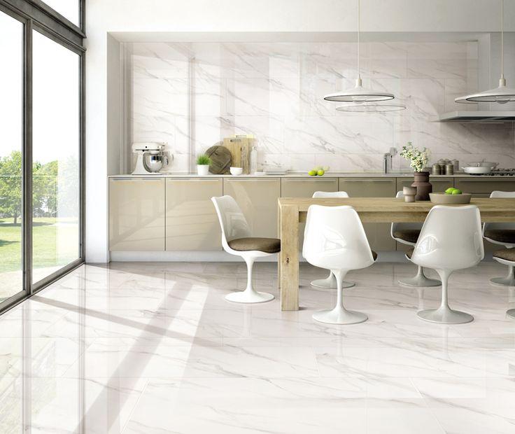 Elegant kitchen with Volakas Series (VAK1200)  #design #kitchen #kitchendesign #walltile #floortile