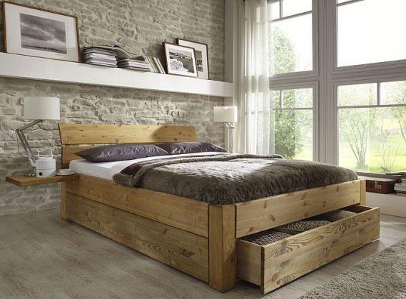 Bett Mit Schubladen Aus Massivholz Kiefermobel Als Einzelbett