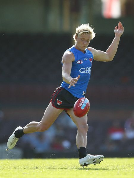 Isaac Heeney of the Swans kicks during a Sydney Swans AFL Training Session at Sydney Cricket Ground on April 18, 2017 in Sydney, Australia.
