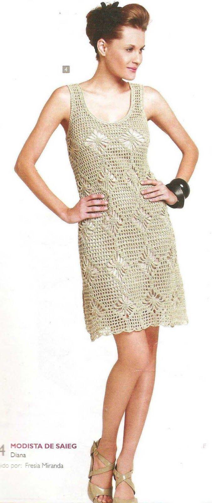 Patrón #1638: Vestido a Ganchillo ~ CTejidas [Crochet y Dos Agujas]