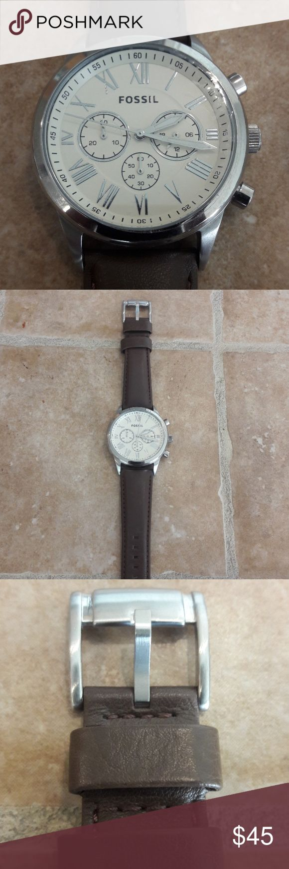 Fossil Chronograph Watch Never Worn, Genuine Leather Fossil Accessories Watches