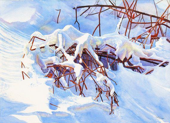 Neige aquarelle peinture imprimer par Cathy HIllegas, 12 x 16, bulletins d