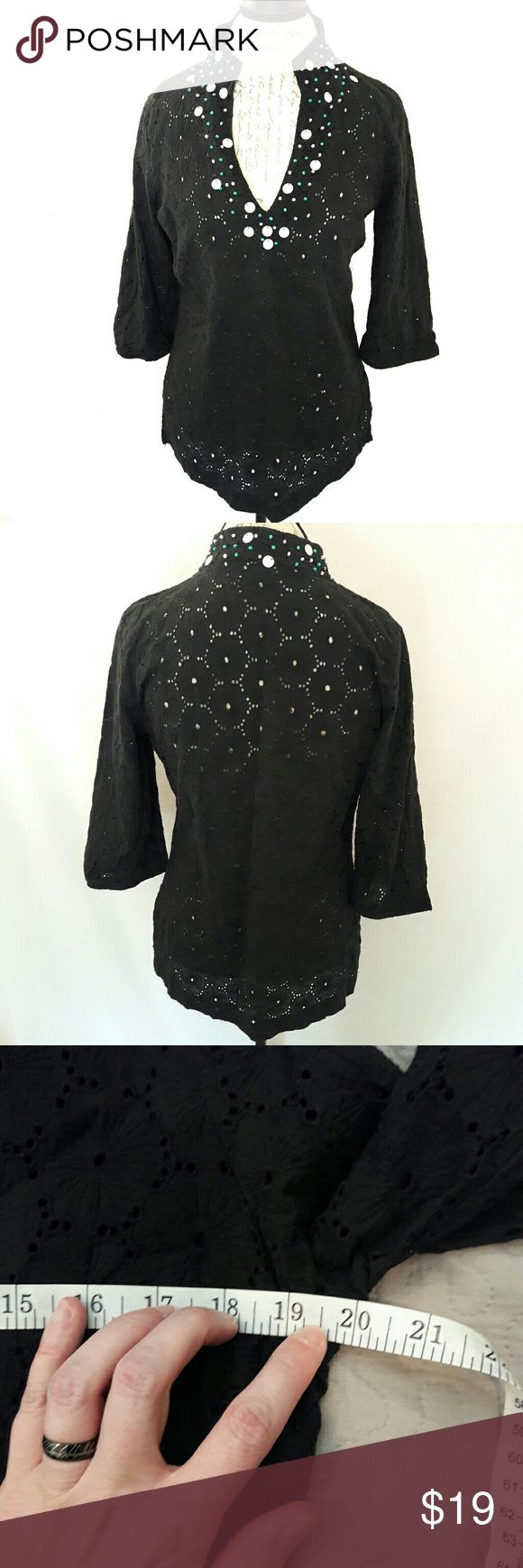 Beaded eyelet top by Kenar Beautiful long sleeve black eyelet beaded blouse. Has beads on the chest of the blouse. Also has a v-neckline. The beads are white and turquoise. Has a zipper on the side of the shirt. Measurements provided in pics above. From a smoke and pet free home. Fast shipping. Office - Vacation - Wedding - Fun - Dress up - date night - cruise - fall - winter *IF YOU LIKE MY ITEMS, please FOLLOW ME to see NEW ARRIVALS that are added weekly! * Kenar Tops
