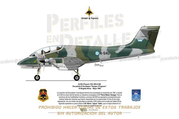 """IA-58 A Pucará- C/N: 040 A-540 Escuadrón IV de Ataque """"Semper 4 Pugnans"""" IX Brigada Aérea - Mayo 1982"""