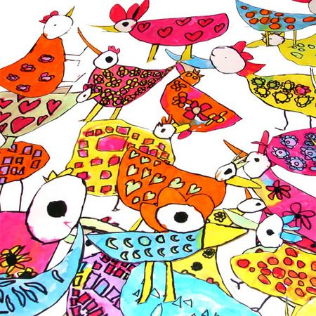 From an art site in France. Perfect for early elementary: Sharpies and watercolor!