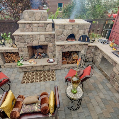 Outdoor fireplace, pizza oven, outdoor kitchen, Ice chest, outdoor .