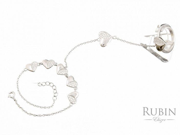 Cirkónia köves szív motívumos ezüst gyűrű karlánccal