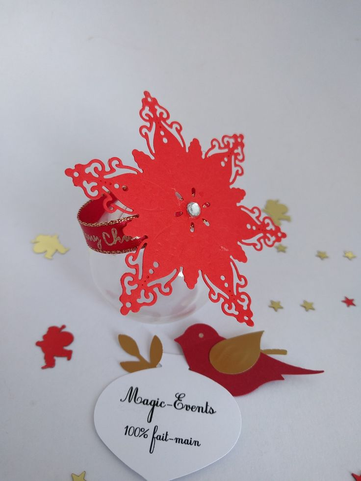 Lot de 10 ronds de serviette flocon de neige - décoration table de fête : Accessoires de maison par magic-events