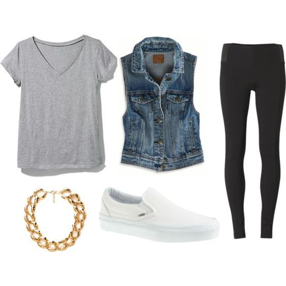 pantalon negro, playera gris, chamarra de mezclilla y tenis blancos: