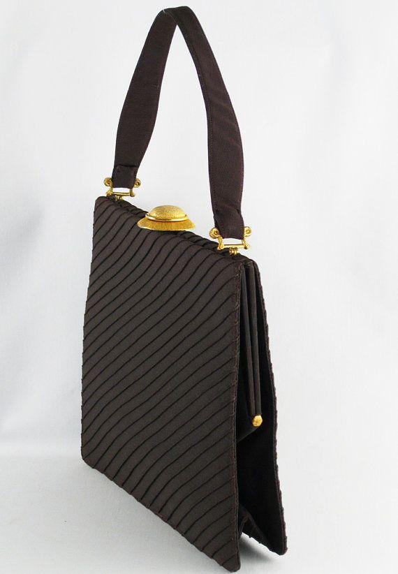 Large Envelope Vintage 60s Handbag Brown by by alleycatsvintage