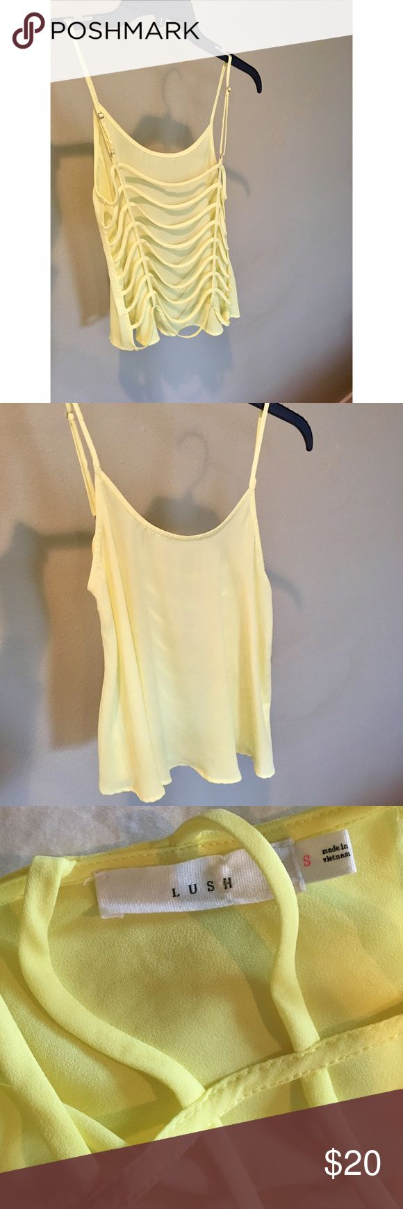 YELLOW TANK Polyester yellow tank top with open back. Adjustable straps. NWOT Lush Tops Tank Tops