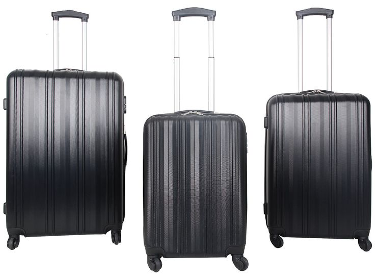 Elegant 3 Piece ABS Trolley Cases @ R2,300  Features: Fully Lined, 4 Spinner Rolling Wheels, Push Button Trolley Handle System, Zip Combination Lock, Impact Resistant, ABS Material  Set consists of: 55cm Cabin Size: 56.5 x 38 x 23cm, Weight: 2.7Kg, Capacity: 41L 65cm Trolley Case Size: 66.5 x 46 x 27.5cm, Weight: 3.5Kg, Capacity: 69L 75cm Trolley Case Size: 76.5 x 51 x 31cm, Weight: 4.3Kg, Capacity: 104L