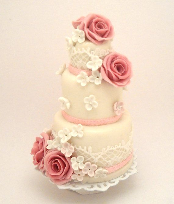 1/12TH scale OOAK  3 tiers romantic wedding cake with by 64tnt